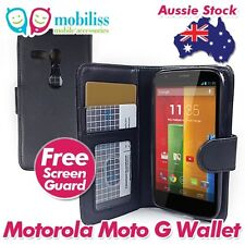 Black Synthetic Leather TPU Inner Wallet Case Cover for Motorola Moto G + SP