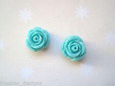 *TURQUOISE OPEN ROSE* Medium LUCITE STUD SP Earrings Rockabilly Gothic Aqua Blue