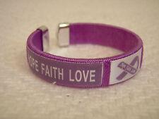 New Hope Faith Love Purple Ribbon Fabric Bangle Bracelet Child Youth Size