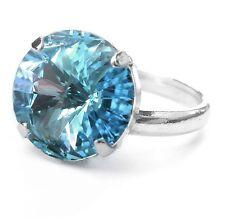 Nuevo señora anillo 14mm Swarovski piedra Aquamarine/azul claro/azul ajustable