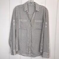 Express Portofino Long Sleeve Button Front Black White Check Blouse Size Small