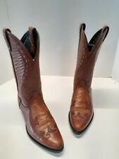 Vtg Laredo Usa Exotic Ostrich / Leather Western Cowboy Boots Size 9 D Brown