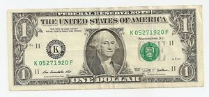 """Fedreral Reserve One Dollar Birth Date Serial Number Note ~~ """"05 - 27 - 1920"""""""