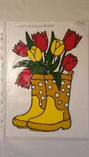 Window Color Fensterbilder Deko Blumen Tulpen in Gummistiefeln