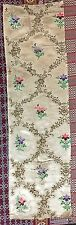 """ANTIQUE FRENCH 18TH-CENTURY FABRIC SILK JACQUARD 11"""" X 37"""" Silver Work"""