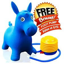 Kids Blue Horse Hopper, Inflatable Jumping Ride-on Bouncy Bouncer +Foot Pump NEW