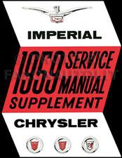 1959 Chrysler Shop Manual Supplement Imperial New Yorker Windsor Saratoga 300E