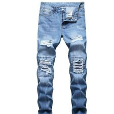 Men's Skinny Fit Patchwork Ripped Distressed Classic Cotton Stretch Denim Jeans