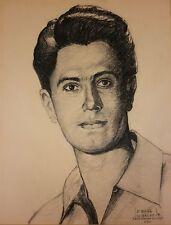 JOSEPH BRUNO New York NY Original 1956 Charcoal Drawing Portrait - Rock Hudson?