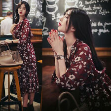 Korean Womens Slim Floral Empire Waist Chiffon Long Sleeve Boho Party Maxi Dress