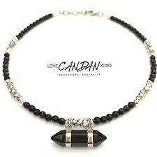 Onyx Rock Choker Necklace With Onyx Pendant Crystals Bohemian Gypsy Hippie Style