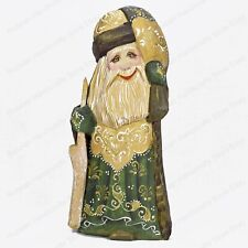 """6"""" SANTA CLAUS PAPA NOEL STATUE CHRISTMAS RUSSIAN CARVED WOODEN GREEN FIGURE"""