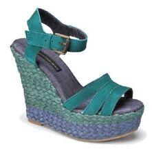 Calvin Klein Breezie Blue/Green Espadrilles Platform Wedge Heels Sandals, 7M
