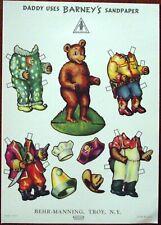 Behr Manning Corporation Barney Bear Un-Cut Paper Doll 1950's