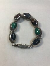 "Vintage Mexico Sterling Silver Multi-Color Multi-Stone Bracelet 34gram 7"""