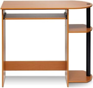 Furinno Simplistic Easy Assembly Computer Desk, With Keyboard Tray, Light Cherry