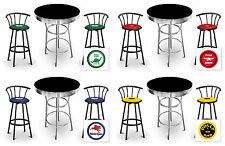 Bar Table Set Vintage Gas Theme 3-pc Black Table with Black Metal Decal Stools