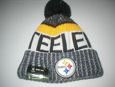 6b854163806 PITTSBURGH STEELERS NEW ERA SIDELINE BEANIE KNIT WINTER HAT CAP POM NFL  FOOTBALL