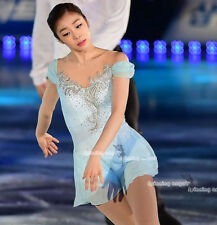 Custom Fashion Ice figure Skating Dresses Blue Costume For Adults or Girls W056
