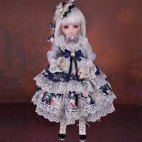 1/3 BJD Puppe 45cm Mädchen Doll + Kleidung Schuhe Perücke Augen Gesicht Make-up