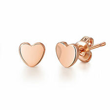 Rose Gold Heart Stud Earrings in Gift Pouch
