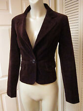 F21 FOREVER 21 DARK CHOCOLATE BROWN VELVETY CORD TAILORED HOURGLASS JACKET SZ ML