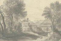 Mid 19th Century Graphite Drawing - Classical Landscape