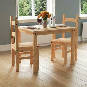 Corona Dining Set 2 Seater 3 Piece Chairs Table Solid Waxed Pine Furniture