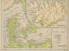 LANDKARTE DÄNEMARK, ISLAND Relief-Landkarte 29,5x24,5cm W.Swan Sonnenschein 1875