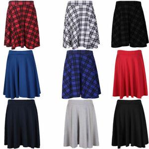 Ladies Plus Size Plain Soft Stretch Ladies Elasticated Waistband Knee Length