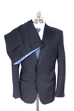 NWT SARTOE Italy Black Houndstooth Zignone Wool Shawl Collar Tuxedo Suit 50 40 R