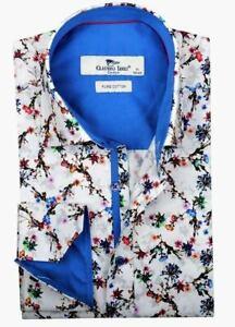 Men's Printed Shirt Slim Long Sleeve Cotton White Size 4XL Claudio Lugli Flowers