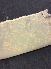 4.75m Light Olive Green Gold Brocade Fabric Curtains FREE POSTAGE