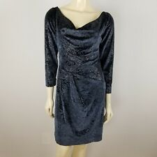 Geri Gerard Collection cowl neck sheath blue glittery cocktail dress sz 6