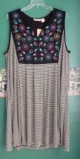 La Cera Women's NWT 3X Black White Striped Dress Embroidered Comfort Stylish