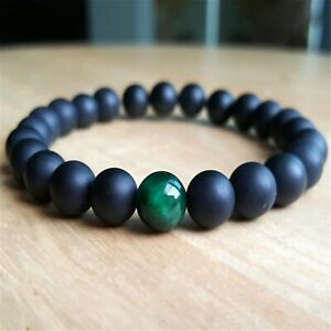 8mm Matte Black Onyx Beads Handmade Bracelet 7.5inch Mala Lucky Healing