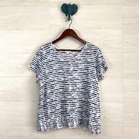 J Jill Large Love Linen Blue White Striped V Neck Knit T Shirt Top Blouse Womens