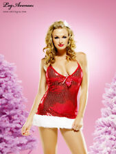 Sequinned Red Halter Mini Dress Fur Xmas Costume L UK 14 Christmas Candy Cane