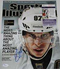 SIDNEY CROSBY PITTSBURGH PENGUINS HOCKEY SIGNED SI 11X14 COVER PHOTO JSA