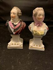 Antique Chelsea Porcelain Figurine Busts of King Louis Xv of France and Wife