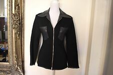 Atelier: Wool/Cow Hide Leather Womens Black Jacket, Size S (Best fit 8)