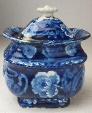 Historical Dark Blue Staffordshire Eagle on Urn Sugar Bowl Clews