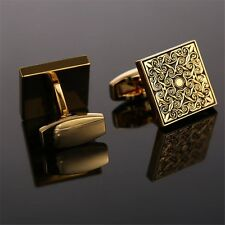 Luxury Square Royal Floral Engraved Cufflinks Gold Cuff Link Mens Wedding Gift