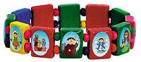 Child-Like Multi-color Wood Patron Saint Bead Stretch Bracelet, 6 1/2 Inch