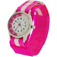 Pink Girls Children Kids Watch Learn To Tell The Time Tutor Teacher Stripe Strap