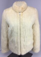 Vtg Saga Mink Fur Coat Blonde Ivory Genuine Luxurious Jacket Lined WEDDING Sz M