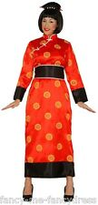 Señoras Rojo Oriental Chino Kimono Japonés Vestido de fantasía Traje de Disfraz 14-16-18