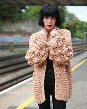 Hand Knit cable design Vegan soft wool blend yarn handmade knitted cardigans