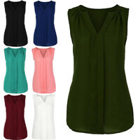 Women's V Neck Summer Chiffon Sleeveless Vest Shirt Blouse Ladies Tops Plus Size
