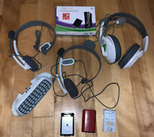 Microsoft Xbox 360 Accessories Bundle Lot Headsets(3),Battery Cases,Chatpad++